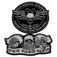 Set of 2 Old School Skull Patches