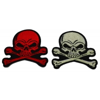 Set of 2 Red and Gray 3 inch Skull Patches