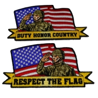 Set of 2 Saluting Soldier Patches
