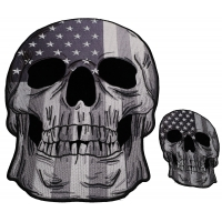 Set of 2 Small and Large American Flag Skull Grayscale Patches