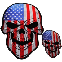 Set of 2 Small and Large American Flag Skull Patches