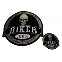Set of 2 Small and Large Biker Skull Patches