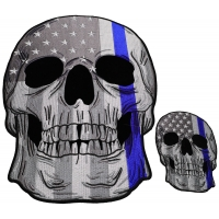 Set of 2 Small and Large Blue Line Police Skull Patches