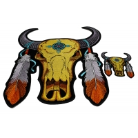 Set of 2 Small and Large Buffalo Skull Patches