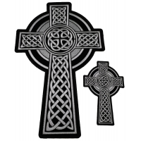 Set of 2 Small and Large Christian Cross Patches with Celtic Design