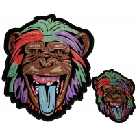 Set of 2 Small and Large Colorful Ape Chimpanzee Patches