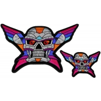 Set of 2 Small and Large Colorful Robot Skull Patches