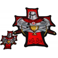 Set of 2 Small and Large Crusader Knight Patches with Holy Grail