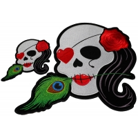 Set of 2 Small and Large Cute Skull Patches