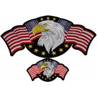 Set of 2 Small and Large Eagle with American Flag Patches