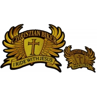 Set of 2 Small and Large Gold Christian Biker Patches
