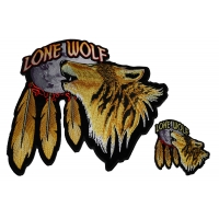 Set of 2 Small and Large Lone Wolf Howling at the Moon Patches
