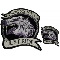 Set of 2 Small and Large Lone Wolf No Clubs No Rules Patches