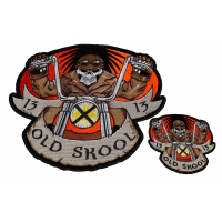 Set of 2 Small and Large Old Skool Chopper Biker Patches