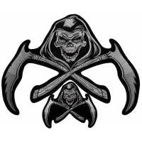 Set of 2 Small and Large Reaper Skull Patches