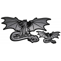 Set of 2 Small and Large Reflective Dragon Patches