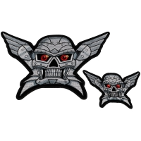 Set of 2 Small and Large Robot Skull Patches