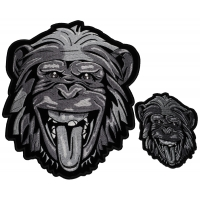 Set of 2 Small and Large Silver Gorilla Patches