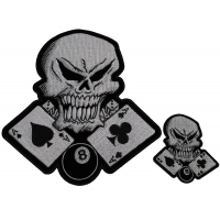 Set of 2 Small and Large Skull and Aces Patches