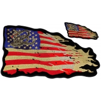 Set of 2 Small and Large Vintage American Flag Patches with Gadsden Snake