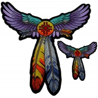 Set of 2 Small and Large Wings and Feathers and Arrows Tribal Patch