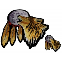 Set of 2 Small and Large Wolf Howling at the Moon Patches