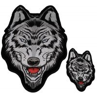 Set of 2 Small and Large Wolf Patches
