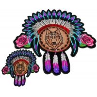 Set of 2 Small and Large Wolf with Indian Head Dress and Pink Flowers and Feathers Patches