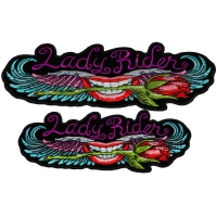 Set of 2 Small and Medium Lady Rider Lips and Roses Patches