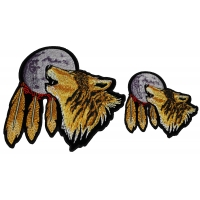 Set of 2 Small and Medium Wolf Howling at the Moon Patches