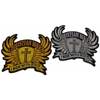 Set of 2 Small Christian Biker Patches in Silver and Gold