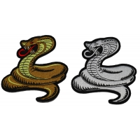 Set of 2 Small Cobra Snake Patches in Brown and White
