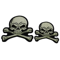 Set of 2 Small Gray Skull Patches