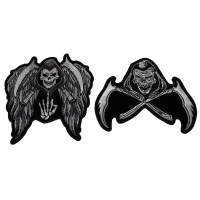 Set of 2 Small Grim Reaper Skull Patches