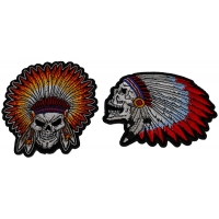 Set of 2 Small Indian Skull Head Patches