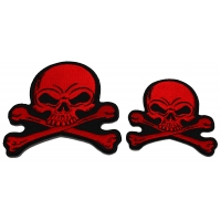 Set of 2 Small Red Skull Patches