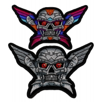 Set of 2 Small Robot Skull Patches Silver and Colorful