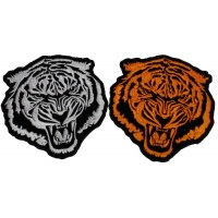 Set of 2 Small Tiger Patches in White and Orange