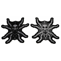 Set of 2 Spider Skull Patches in White and Reflective