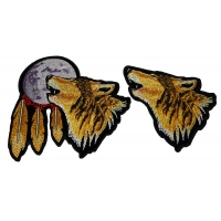 Set of 2 Wolf Patches Plain and Howling at the Moon