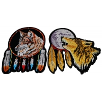 Set of 2 Wolf with Feathers Patches