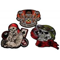Set of 3 Biker Skull Patches