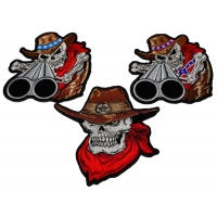 Set of 3 Cowboy Skull Patches