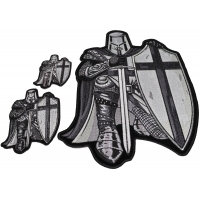 Set of 3 Crusader Kneeling Knight in Gray Patches