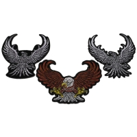 Set of 3 Eagle Patches in Brown and Silver