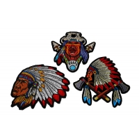 Set of 3 Indian Chief Patches