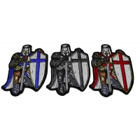 Set of 3 Kneeling Crusader Knight Patches in Blue Red and Gray