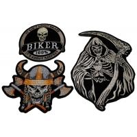 Set of 3 Skulls Patches Viking Biker and Grim Reaper