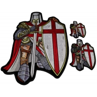 Set of 3 Small and Large Crusader Knight in Red Cape Patches