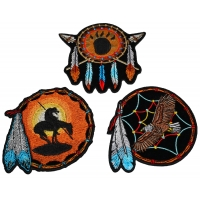 Set of 3 Small Dreamcatcher Patches Native American Indian Designs